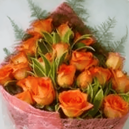 Bouquet of twenty-four orange roses