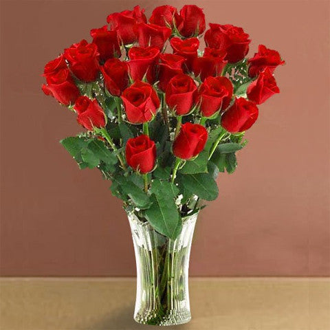 Vase of twenty-four red roses