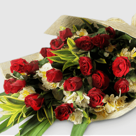 Bouquet of twenty-four red roses