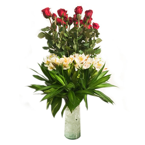 Vase of twelve red roses with alstroemeria