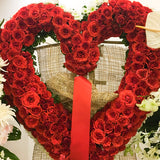 Heart shape red roses wreath