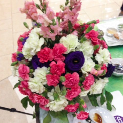 Monochromatic Pink, White, and Purple Carnation with Snapdragon