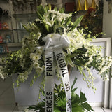 All white combo 4 feet Horizontal Wreath of Lilies, Orchids, and Radost