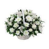 Basket of white sympathy flowers