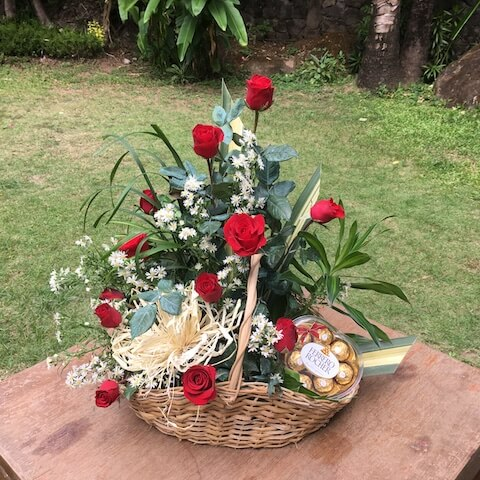 Basket of 12 Red Roses and Chocolates