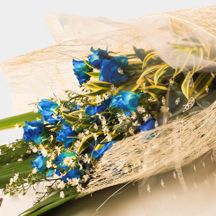 Bouquet of 12 blue roses