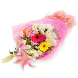 Bouquet of spring flowers with stargazer