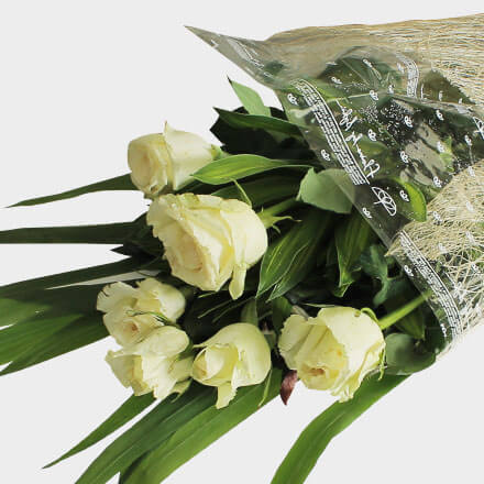 Bouquet of six white roses