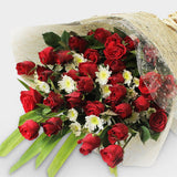 Bouquet of thirty-six red roses