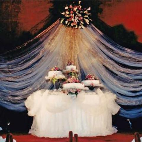 Cake table floral decor and back drop