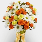 Vase of carnation and orange roses