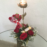 Vase of gold candle rose with six roses, teddy bear, and chocolate