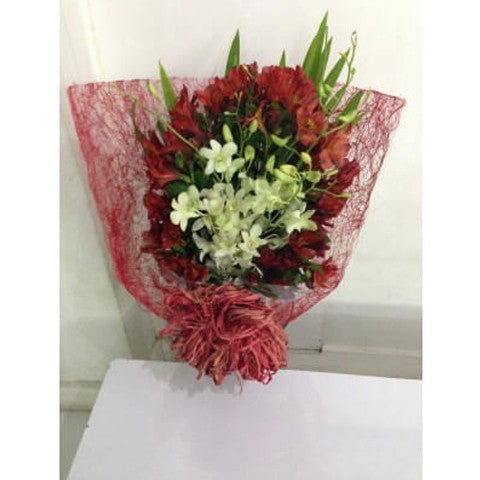 Red Alstroemeria with White Orchids