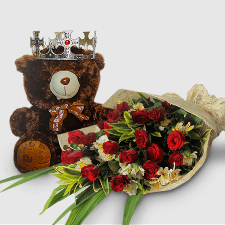 Bouquet of eighteen red roses with bear