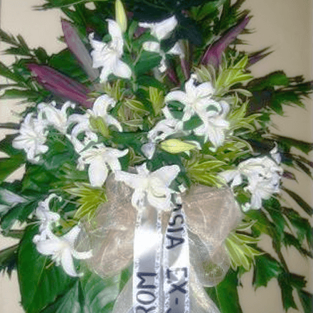 White lilies sympathy arrangement 2