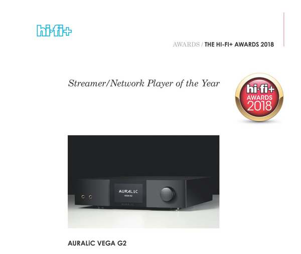 HiFi+ Vega G2 - Best Streamer / Network Player of the Year 2018
