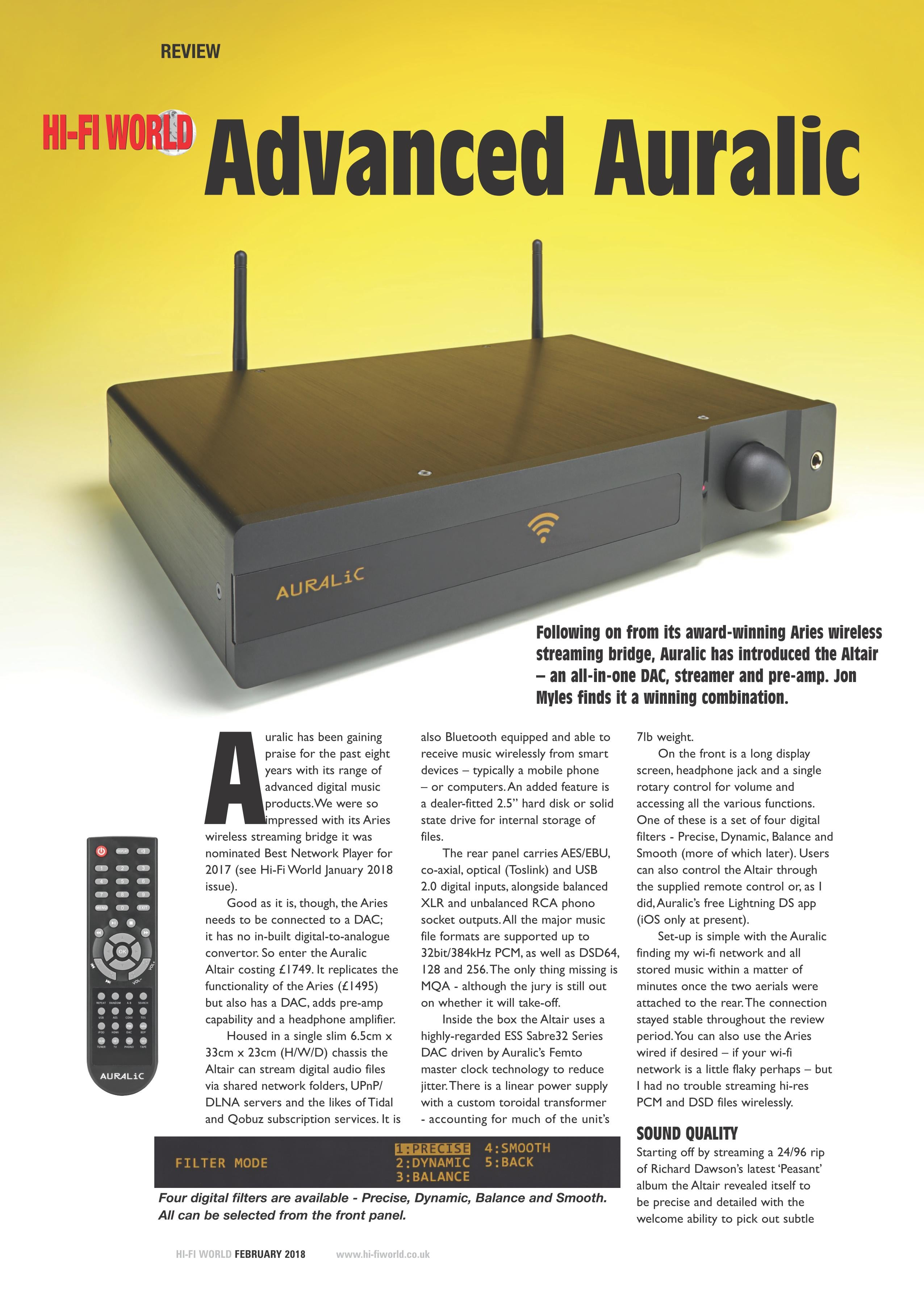 Advanced AURALiC - ALTAIR Review by HI-Fi World - AURALIC