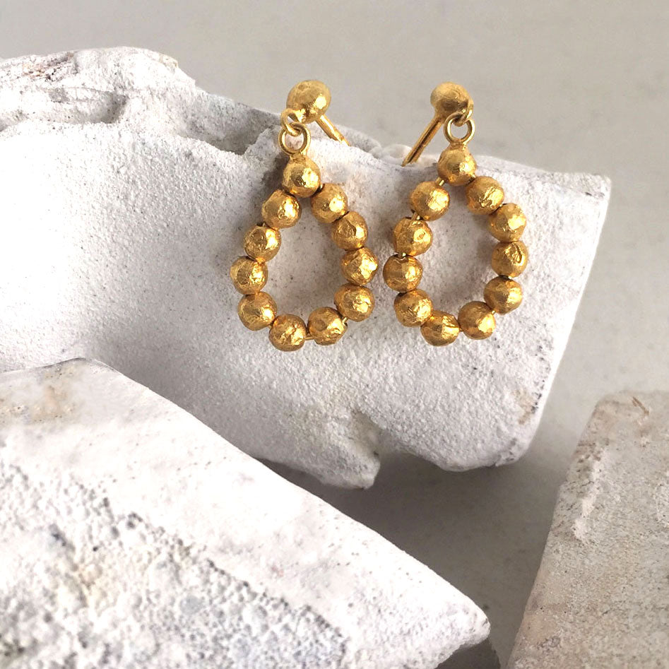 Oval Gold Nuggets Earrings