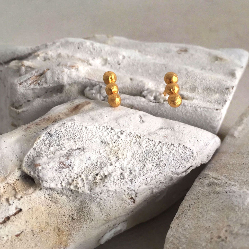 Three Gold Nuggets Earrings