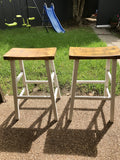 Golden Elm 🌳 and White Bar Stools Pair