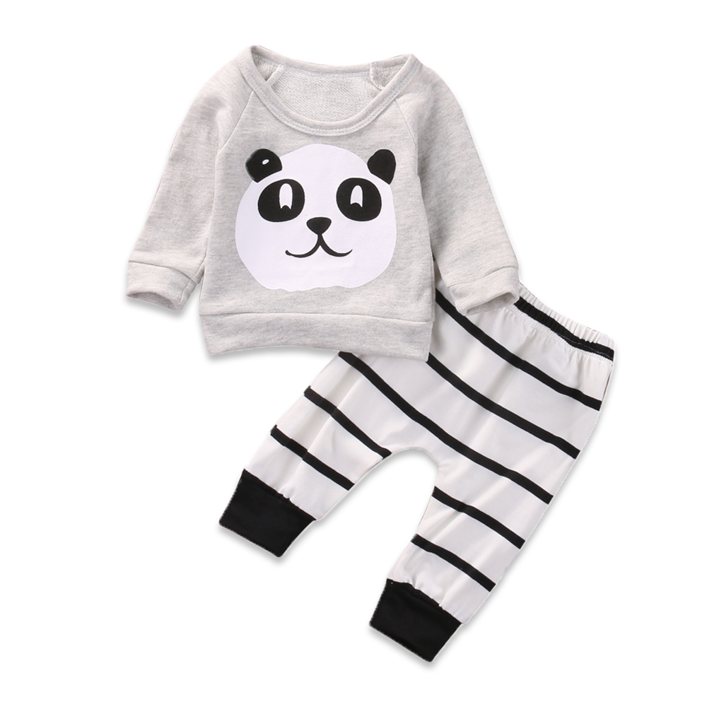 Long Sleeve Panda T-Shirt With Striped Pants - Cuddle Bandits