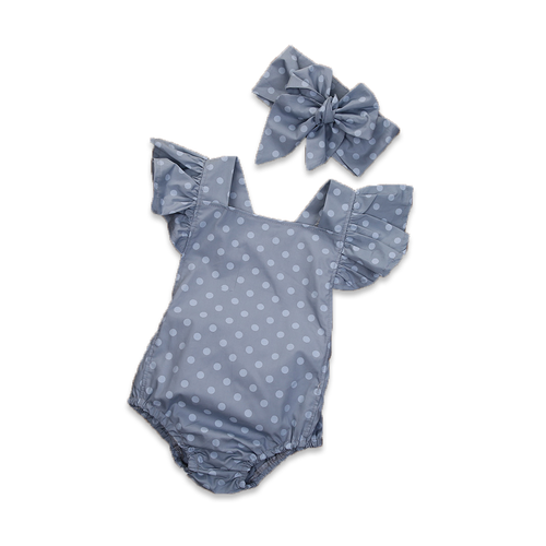 Polka Dot Butterfly Sleeve Romper - Cuddle Bandits