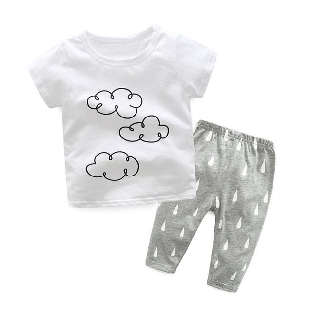 Clouds And Raindrops Unisex Set - Cuddle Bandits