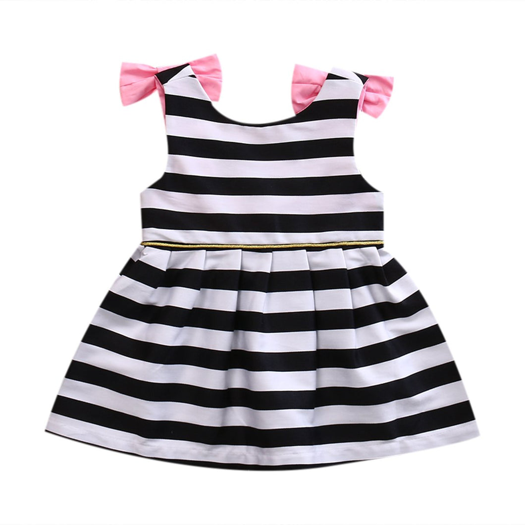 Stripy Bow Dress - Cuddle Bandits