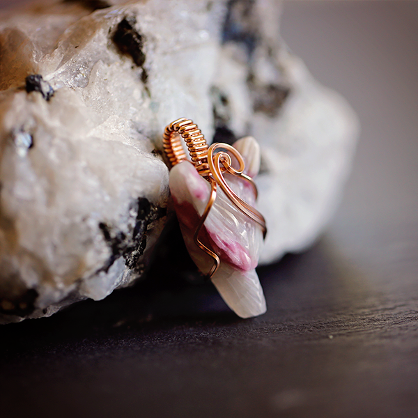 Pink Tourmaline Wolf Amulet in 14K Rose Gold-fill