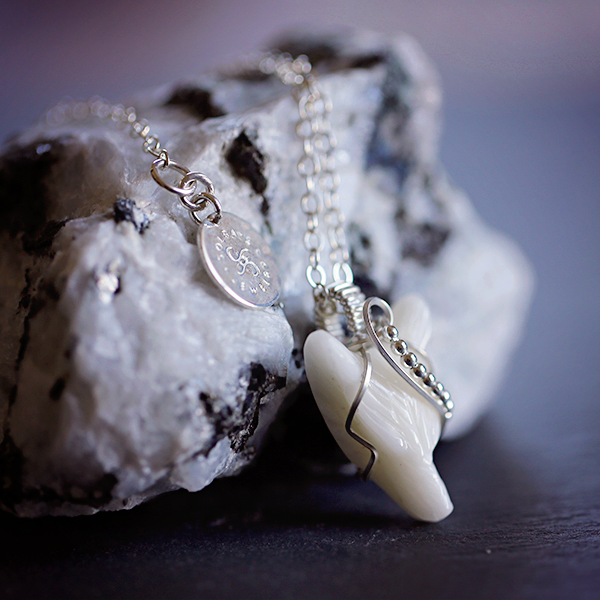 White Jade Wolf Amulet in Sterling Silver
