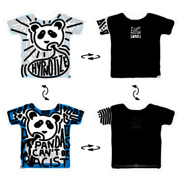 Super 4Way Reversible Pandas Can't Be Racist print t-shirt UZTZU® - Uztzu Clothing - Shop Super 4X4 T-shirts, Pants and hoodies online!