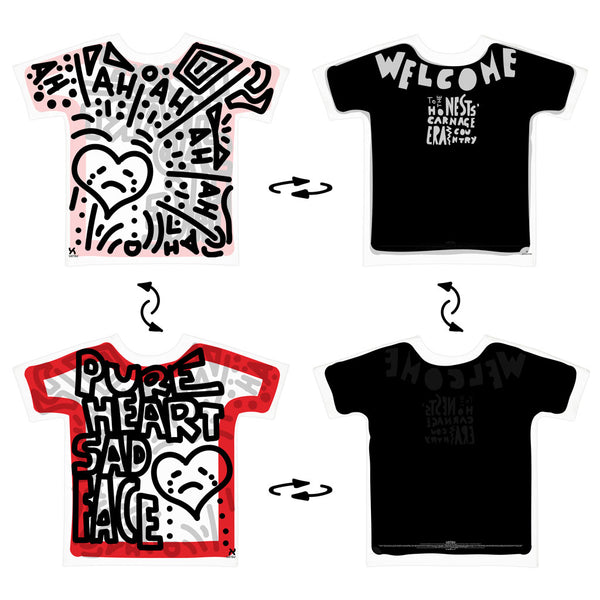 Super 4Way Reversible Pure Heart Sad Face print t-shirt UZTZU® - Uztzu Clothing - Shop Super 4X4 T-shirts, Pants and hoodies online!