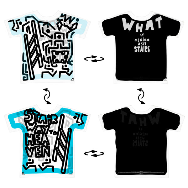 Super 4Way Reversible What If Mexico Used Stairs print t-shirt | UZTZU®