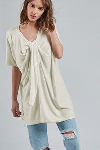 Women's Milk-Plus White Short-To-Long Shirt - UZTZU 4-Ways Reversible T-Shirts
