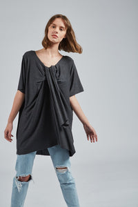 Women's Wolf GREY Short-To-Long Shirt - UZTZU 4-Ways Reversible T-Shirts
