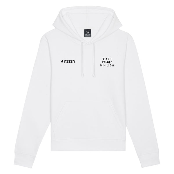 White Summer Hoodie Print Cash Chaos Nihilism UZTZU® - Uztzu Clothing - Shop Super 4X4 T-shirts, Pants and hoodies online!