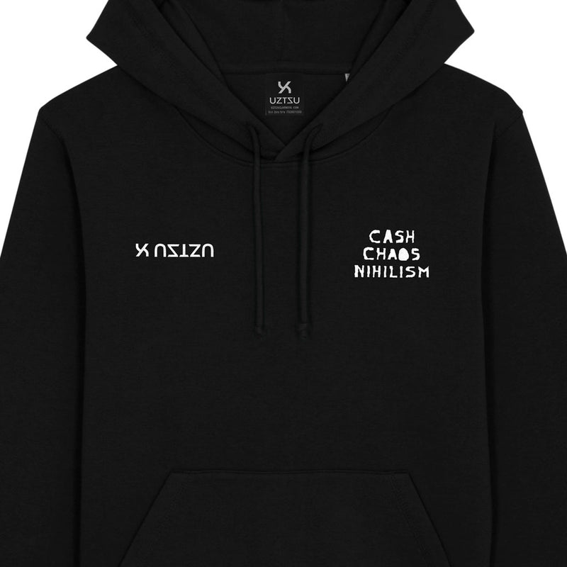 products/Uztzu-Cash-Chaos-Nihilism-White-black-hooded-sweatshirt-front-detail.jpg