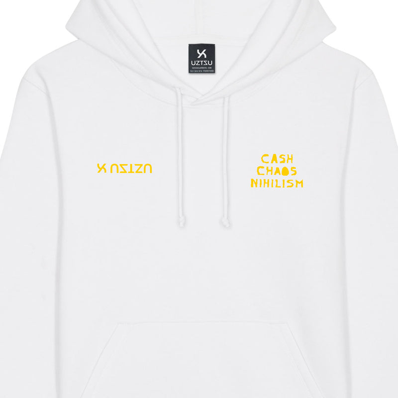 products/Uztzu-Cash-Chaos-Nihilism-Yellow-white-hooded-sweatshirt-front-detail.jpg