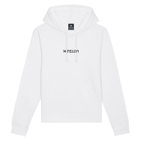 White Summer Hoodie Print Center Logo Upside Down UZTZU®