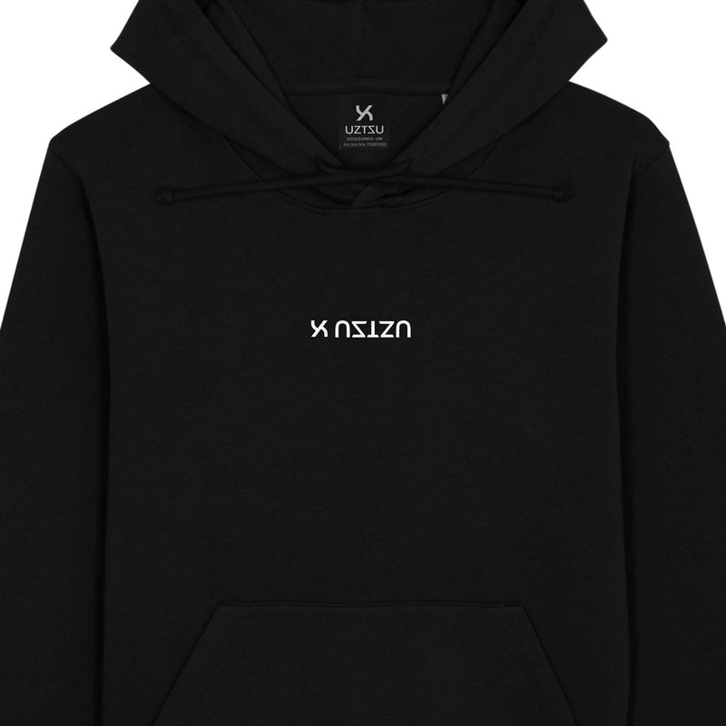 products/Uztzu-Center-Logo-Upside-Down-black-hooded-sweatshirt-front-detail.jpg
