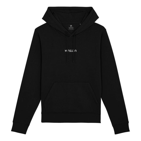 Black Summer Hoodie Print Center Logo Upside Down UZTZU®