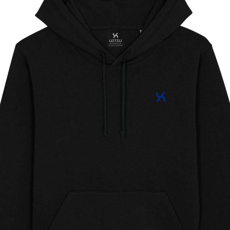 products/Uztzu-Hood-Logo-Blue-black-hooded-sweatshirt-front-detail.jpg