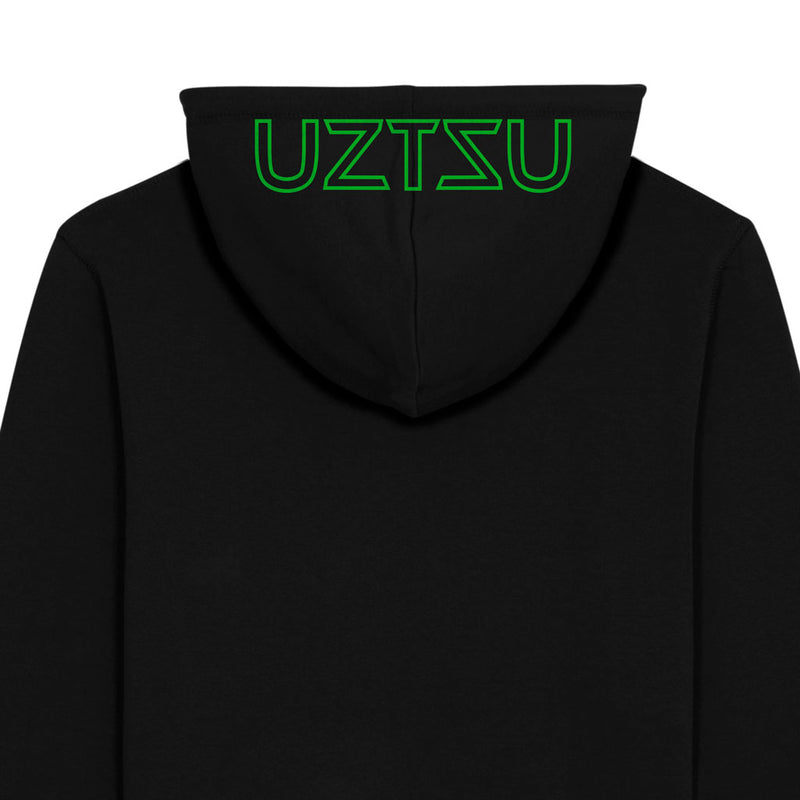 products/Uztzu-Hood-Logo-Green-black-hooded-sweatshirt-back-detail.jpg