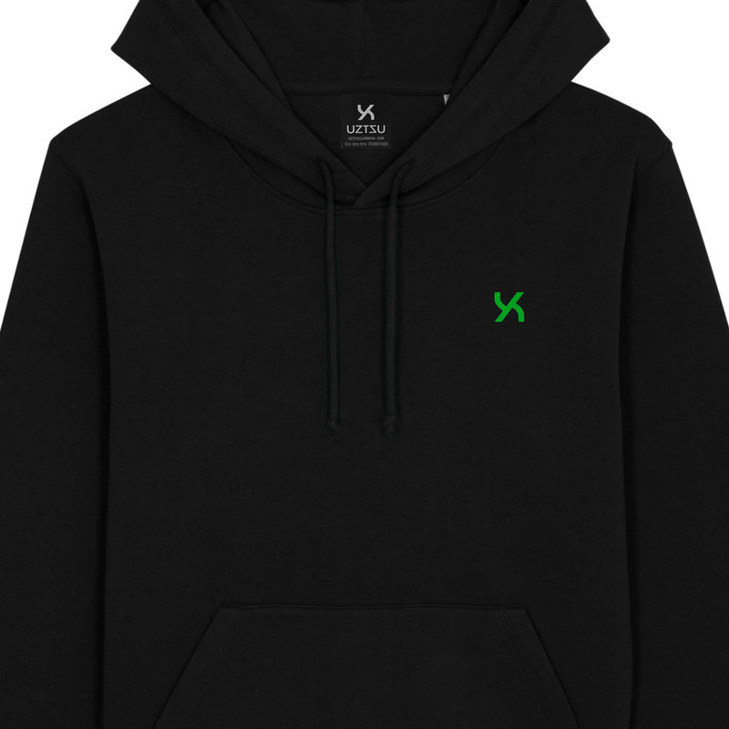 products/Uztzu-Hood-Logo-Green-black-hooded-sweatshirt-front-detail.jpg