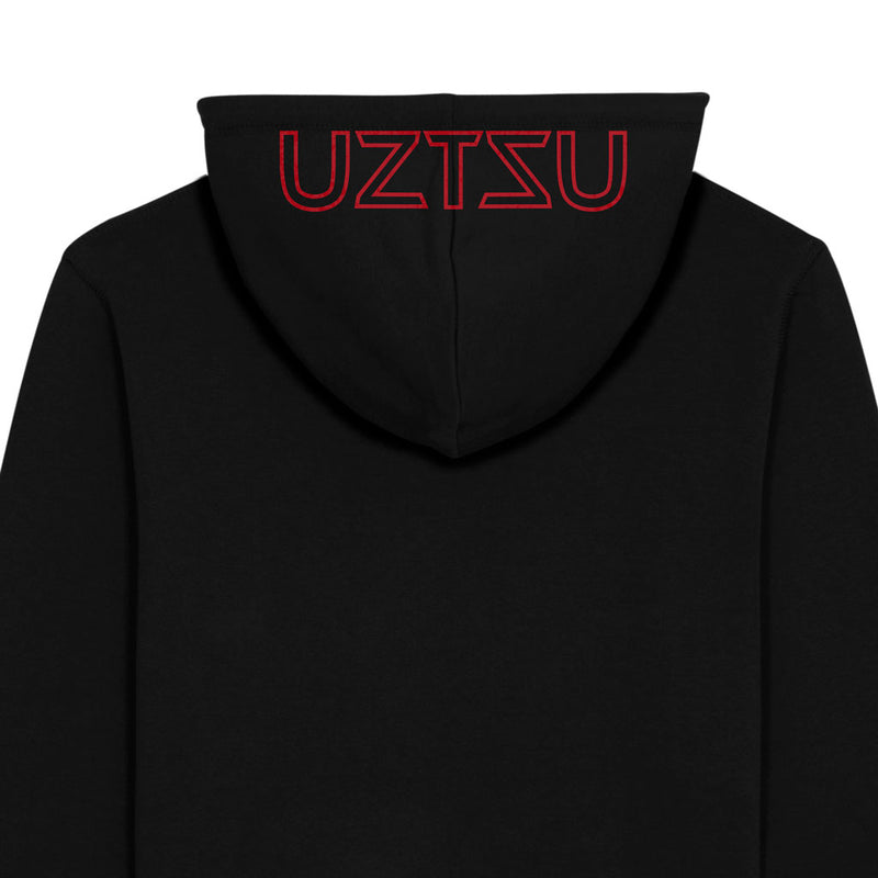 products/Uztzu-Hood-Logo-Red-black-hooded-sweatshirt-back-detail.jpg