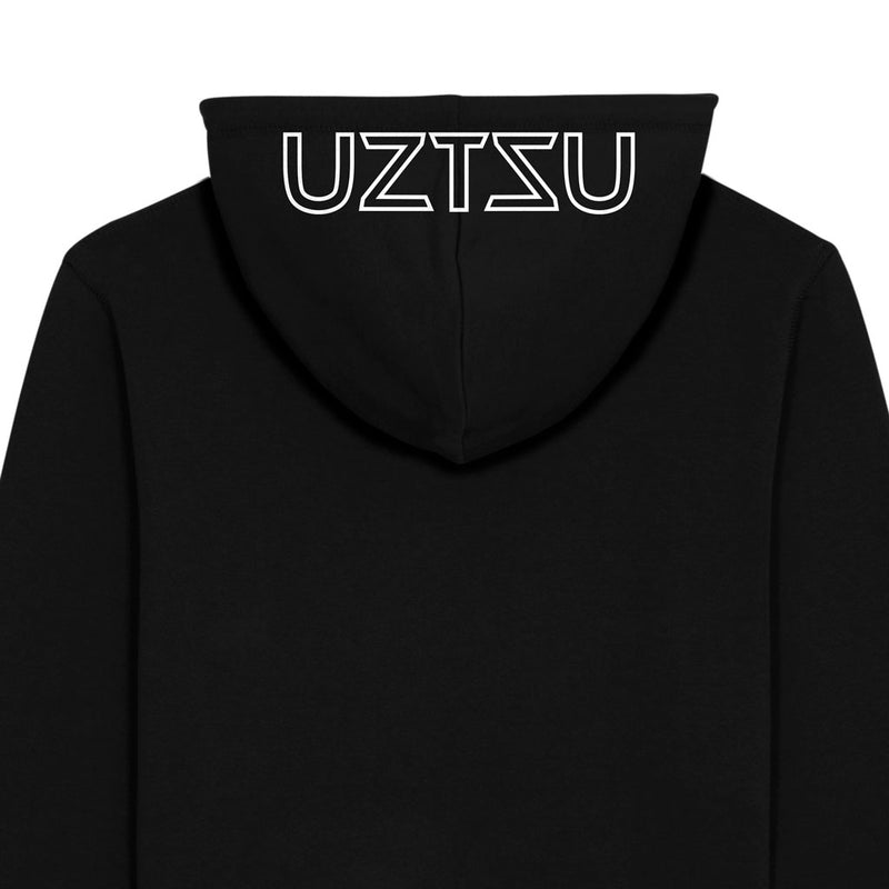 products/Uztzu-Hood-Logo-White-black-hooded-sweatshirt-back-detail.jpg
