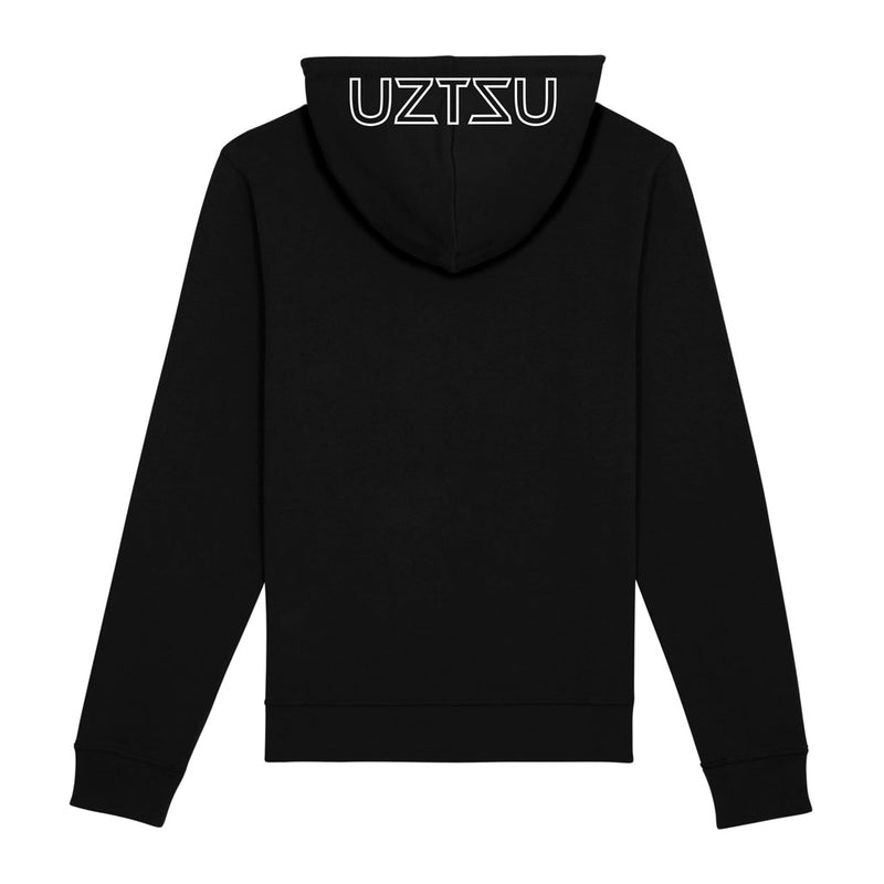 products/Uztzu-Hood-Logo-White-black-hooded-sweatshirt-back.jpg