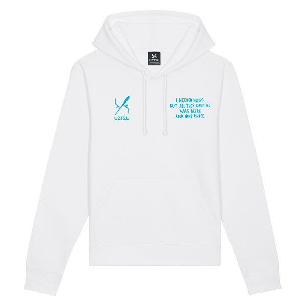 White Summer Hoodie Print I Needed Hugz UZTZU® - Uztzu Clothing - Shop Super 4X4 T-shirts, Pants and hoodies online!