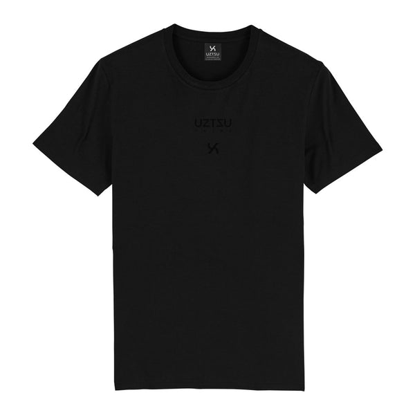 Black Organic Cotton Logo Edition Small Print T-shirt UZTZU®