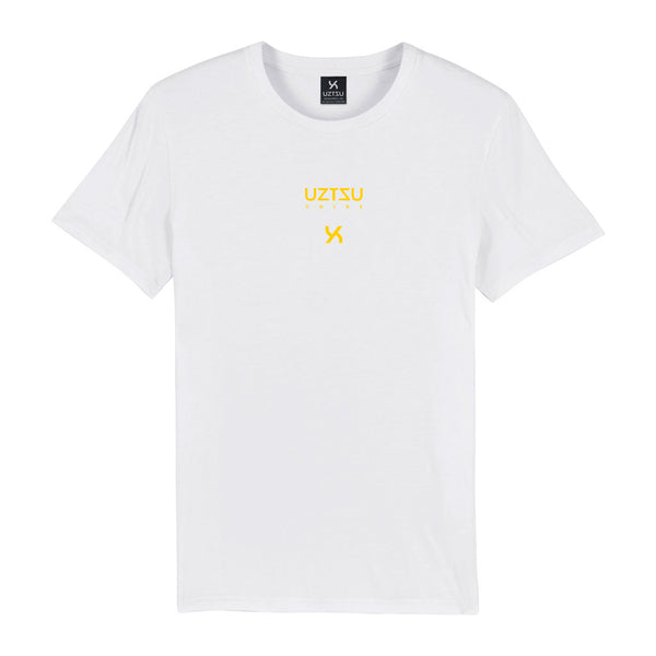 White Organic Cotton Logo Edition Small Print T-shirt UZTZU® - Uztzu Clothing - Shop Super 4X4 T-shirts, Pants and hoodies online!